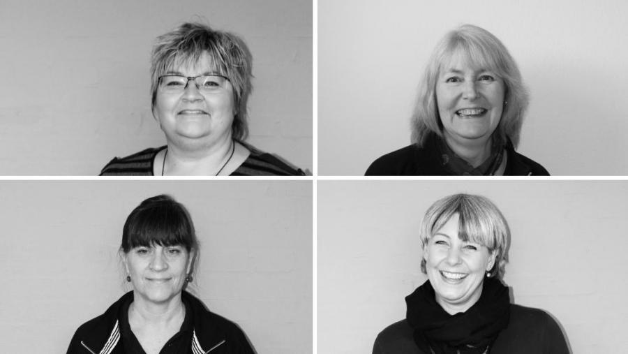 Bibliotekarer Mette, Elin, Pernille H og Karin