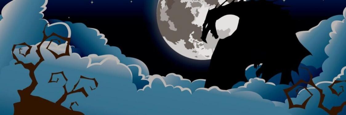 Fantasyfestival Esbjergs logo med sort drage på blå nattehimmel