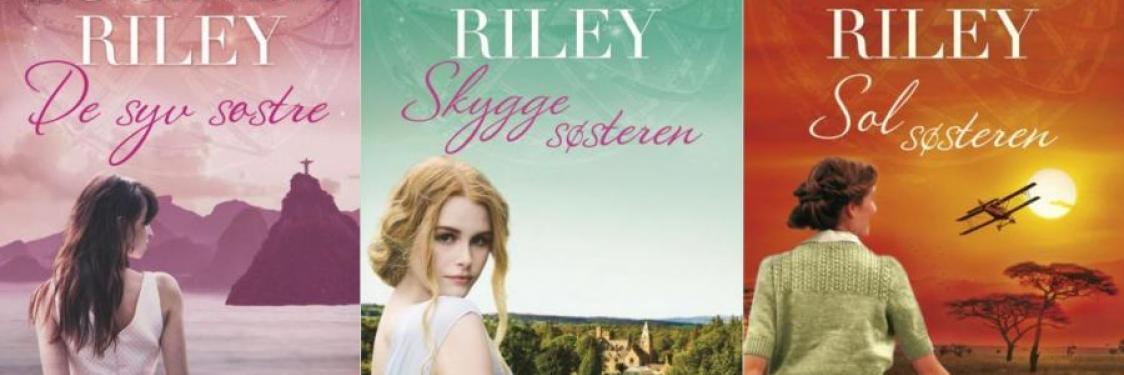 Forsiderne på tre titler i De Syv Søstre serien